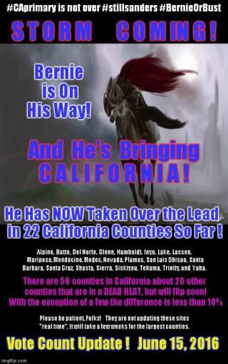 Bernie is coming